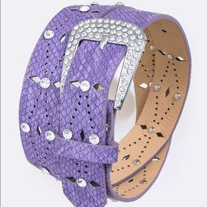 Accessories - Bling Out Crystal Genuine Leather Purple Belt